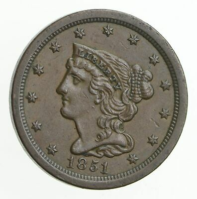 1851 Braided Hair Half Cent *2294