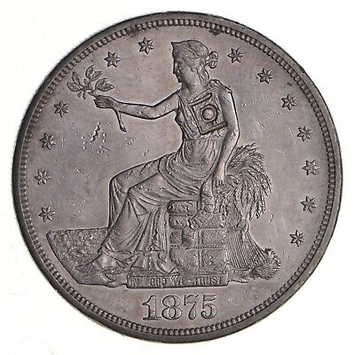 1875-CC Seated Liberty Silver Trade Dollar - Chop Mark *3709