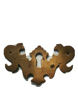 """Antique Brass Pull Key Hole Cover """"ESCUTCHEON"""" for Chippendale Furniture Style"""