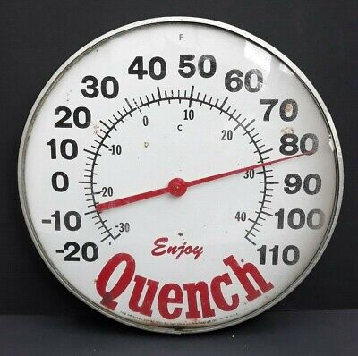 """Enjoy Quench The Original Jumbo Dial By The Ohio Thermometer Company 12"""" Rare"""