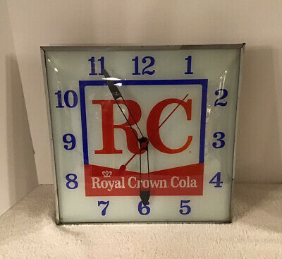 VTG 1950s R C Royal Crown Cola Advertising Electric Lighted PAM Wall Clock WORKS