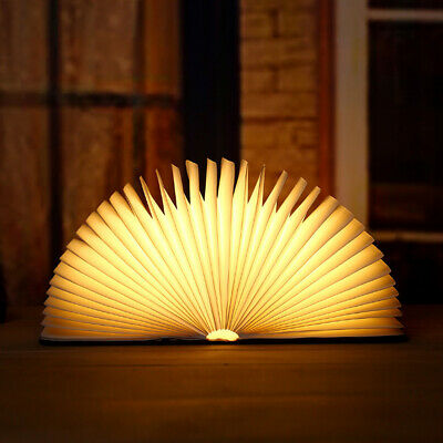 Portable USB Rechargeable LED Night Light Magnetic Foldable Wood Book Lamp US