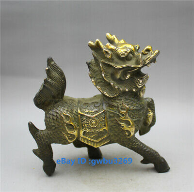 Chinese Collection Bronze Handwork Carving Kirin statue Z1