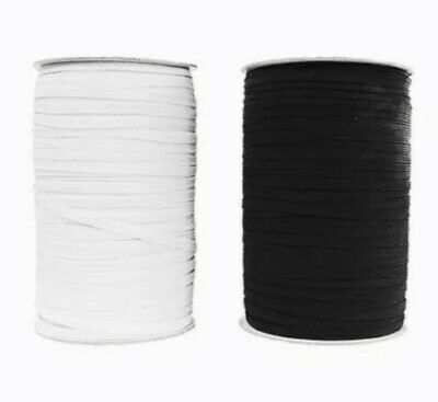 6mm Elastic 1/4 inch width - 8 Cord Flat Corded - Mask, Sewing- Black and White
