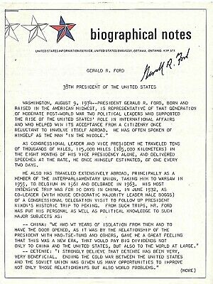 GERALD R. FORD. Signed first Ford presidential bio: issued by US Embassy, Ottawa