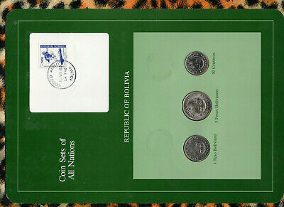 Coin Sets of All Nations Bolivia UNC 5 & 1 Bolivanos 1980 50 centavos 1978