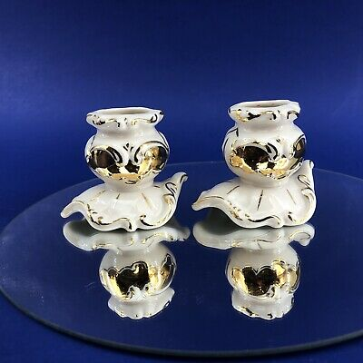 Irish Dresden Vintage Ireland Porcelain Pair Of Candle Stick Holders Rococo
