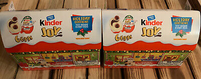 Kinder Joy Eggs  Holiday Edition Toy Inside Every Egg - 2 Boxes Of 6 Eggs Lot