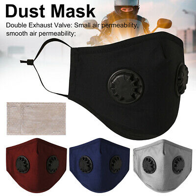 Sport Face Mask Dual/Single Respirator Soft Cotton Breath-ability Carbon Filter