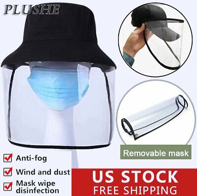 Anti Saliva Full Protection Cover Removable Face Shield Hat Splash Dust Proof US