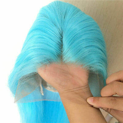 AU 24inch Synthetic Lace front wigs  Women Full Head Straight Fashion Sky Blue