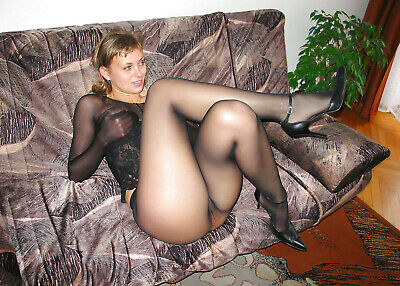 Beauty Nice Blonde Baby Girl in Black Pantyhouse on Sofa - Photo 5x7 I