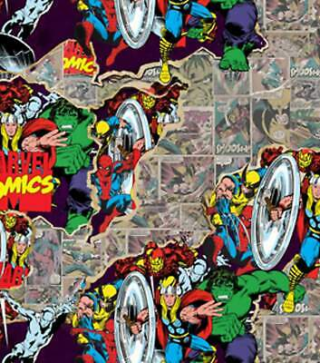MARVEL COMICS 100% COTTON FABRIC - FAT QUARTER - Perfect for DIY Face Mask