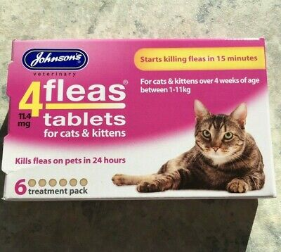 Johnson's 4 Fleas Tablets For Cats & Kittens 1-11kg  6 Treatment Pack