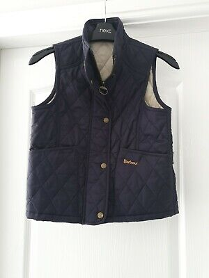 Girls Barbour quilted Gilet size M navy age 11/12 vgc
