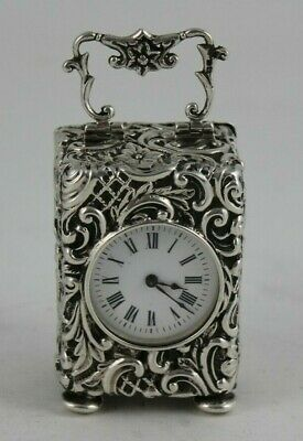 Antique Sterling Silver Carriage Clock Chester 1900