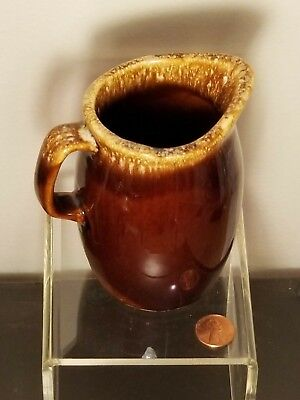 Hull USA Pottery Brown Drip Creamer/Pitcher 4.5 inch 1970's VINTAGE