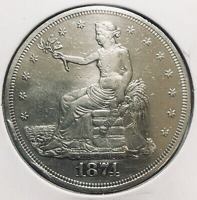 1874 United States $1 Silver Trade Dollar •Rare Better Date• Gorgeous Coin