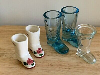 Vintage Ceramic and Glass Decorative Boots Lot of 5