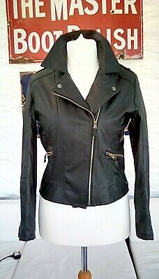 Girls/ladies, black faux leather bomber jacket, size 8 biker style