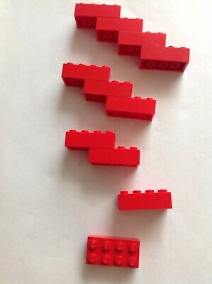 FREE UK POST 10 x Lego 4x2 Flat Piece Strip Part RED *CHEAPEST ON