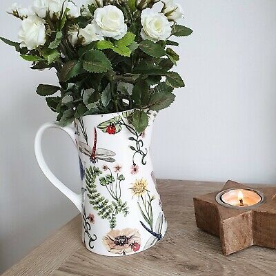 English Garden Inspired White Country Cottage Floral Bone China Jug