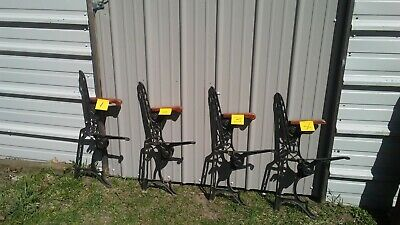 Single Vtg Architectural Salvage Cast Iron Bench Ends Legs Ornate 30.5""