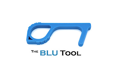 The BLU Tool: Antimicrobial Touch Free Door Opener Button Tool w/ Copper Surface