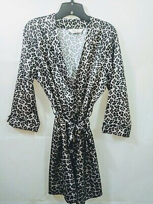 Love To Lounge Womens Satin Short Leopard Print Robe Size 10