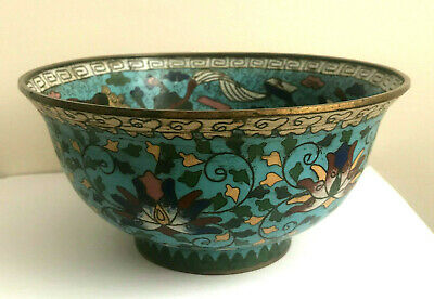 China Footed Cloisonne Bowl 16th Century Ming Dynasty Buddhist Lions