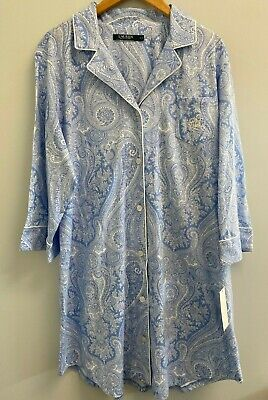 NEW Ralph Lauren Plus Size 1X,2X,3X Paisley Knit Sleep shirt Blue/Whit Pajama PJ