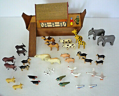 "German Erzgebirge Wood NOAH'S ARK, 36 Hand-Carved Animals, Noah & Wife, 10"" long"