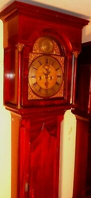 "Antique  Slim Mahogany  "" Leith ""  Flat Hood   Longcase / Grandfather Clock"