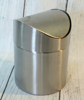 LOVEINUSA Mini Table Trash Can Recycling Brushed Stainless Steel Wave Cover C...