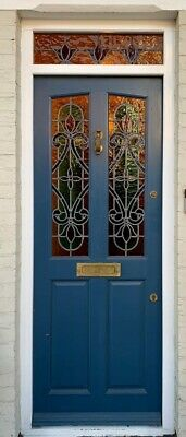 Victorian Front Door With Stained Glass Panels & Fanlight
