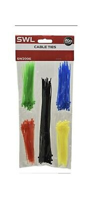 200 Assorted Cable Ties Various Colours Zip Ties Home Wires Secure DIY Handy