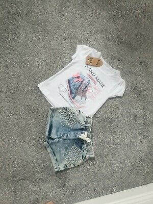 Stunning Baby Girl Outfit Set Sparkly Denim Shorts Pearls 2-3 Years summer C