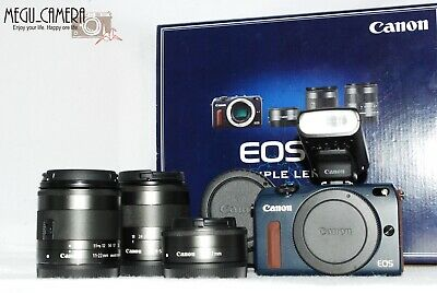 [TOP MINT] Canon EOS M2  EF 11-22mm + 18-55mm + 22mm Triple Lens kit + EF EOSM