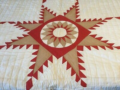 """ANTIQUE Large Handmade Quilt 77 X 82"""" 1800's BRIGHT and BEAUTIFUL"""