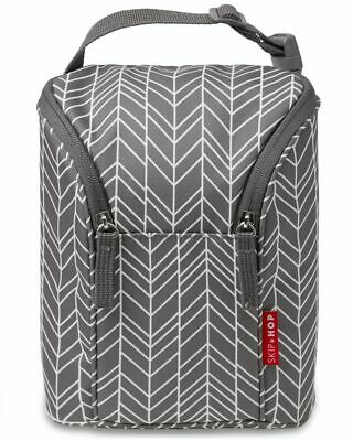 Skip Hop Double Insulated Baby Bottle Milk Bag Gray/Feather NEW