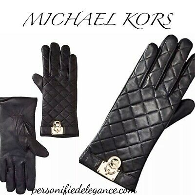 Michael Kors Black Quilted Leather Silver Padlock Gloves Size M $98