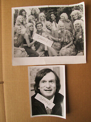 HUGH HEFNER and Playboy Playmates Two (2) Press Photos 1970's