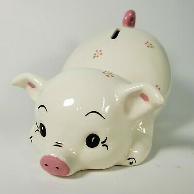 Vintage Ceramic Piggy Bank Pink White Hand Painted Pat's Collection USA