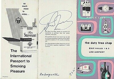 MSTISLAV ROSTROPOVICH. Conductor, cellist. Signed Duty free shop fold-out @ Lod