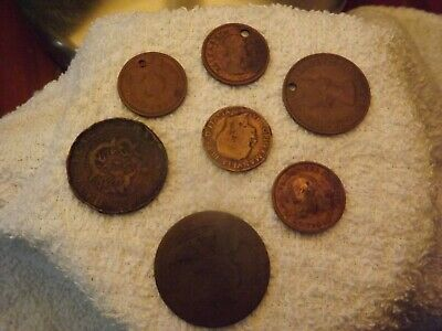 Coins found with a metal detector