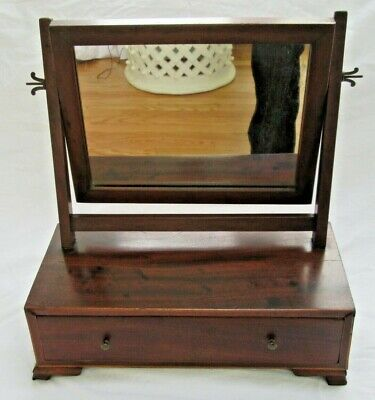 Antique 1830 Federal Wood Dresser Shaving Mirror Drawer Dovetail Vanity Country