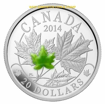 2014 $20 Fine Silver Coin Majestic Maple Leaves With Jade
