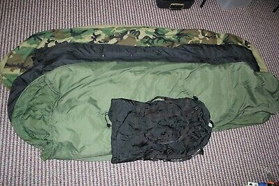 US Military Issue Modular Sleep System Sleeping Bag Set with Gortex Cover USED