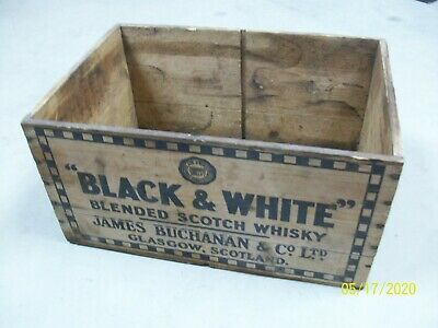 VINTAGE WOOD WOODEN BLACK & WHITE BLENDED SCOTCH WHISKY JAMES BUCHANAN CRATE Box