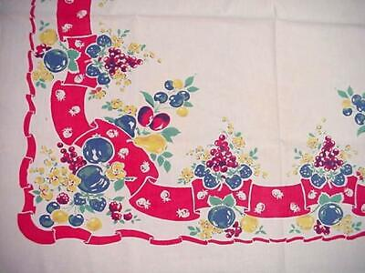 Vintage Classic Kitchen FRUIT Printed Tablecloth RED RIBBON Border Colorful!